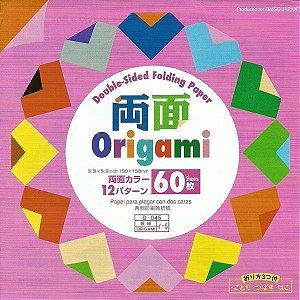 Papel de Origami 15x15cm Lisa Dupla Face 12 Combinações De Cores (60fls)