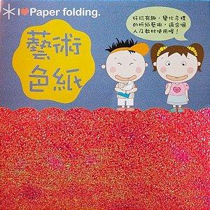 Papel para Origami 10x10cm Texturizado EC25 (15 Fls) Vermelho