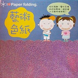 Papel para Origami 10x10cm Texturizado EC25 (15 Fls) Lilás Iridescente