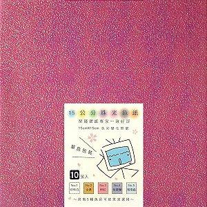 Papel P/ Origami 15x15cm Texturizado Rosa N.3 Aurora Effort (10fls)