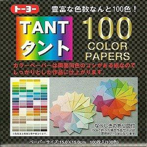 Papel P/ Origami 15x15cm Liso Dupla Face Tant 100 Cores (100fls)