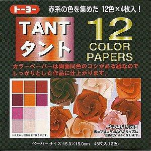 Papel P/ Origami 15x15cm Liso Dupla Face Tant 12 Color Vermelho - Toyo (48fls)