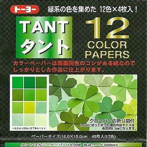 Papel P/ Origami 15x15cm Liso Dupla Face Tant 12 Color Verde - Toyo (48fls)