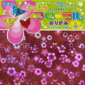 Papel P/ Origami 15x15 Kira Kira Floral Toyo