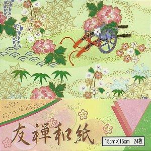 Papel P/ Origami 15x15cm Washi Chiyogami (24fls) CO-194