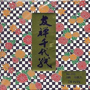 Papel P/ Origami 15x15cm Estampado Face única Washi No. 013 (18fls)