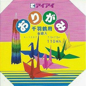 Papel P/ Origami 7,5x7,5cm 17 Cores Ai Ai S-1007 (110fls)