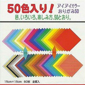 Papel P/ Origami 15x15cm Liso Face única 50 Cores E-2015-1 (60fls)