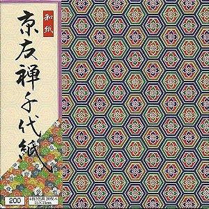 Papel P/ Origami 15x15cm Estampado Face única Yuzen Ningyo KY-2015 (20fls)