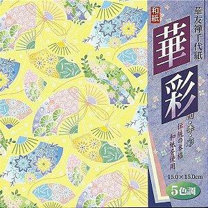 Papel P/ Origami 15x15cm Estampado Face única Chirimen HY2015-L (25fls)