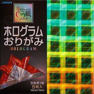 Papel p/ Origami 15x15 Kiragami Series - Hologram (5fls) - Ehime Shiko