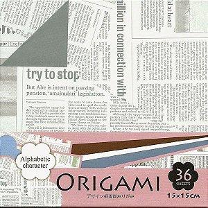 Papel para Origami 15x15cm Dupla-face Alphabetic Character DGO15-36E (36fls.)