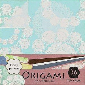 Papel P/ Origami 15x15cm Dupla-face Doily Pattern DGO15-36L (36fls.)