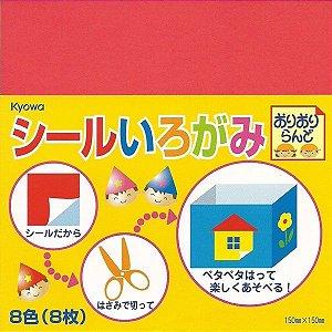 Papel P/ Origami 15x15cm Adesivo Cores Lisas (8fls)
