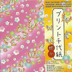 Papel P/ Origami 15x15cm Estampado Face única Print Chiyogami Butterflies CHB200 (48fls)