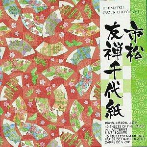 Papel P/ Origami 15x15cm Estampado Face única Ichimatsu Yuzen Chiyogami ICY200 (40fls)