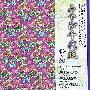 Papel P/ Origami 15x15cm Estampado Face única Miyabi Chiyogami Pine & Waves CPW200 (40fls)