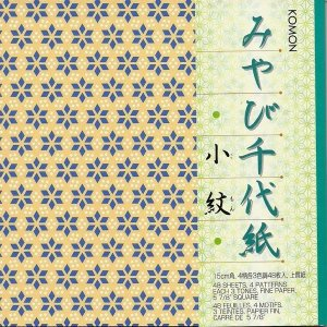 Papel P/ Origami 15x15cm Estampado Face única Miyabi Chiyogami Komon KMC200 (48fls)