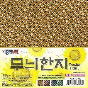 Papel P/ Origami 15x15cm Estampada Face única Han Ji FH13K1 (12 Fls)