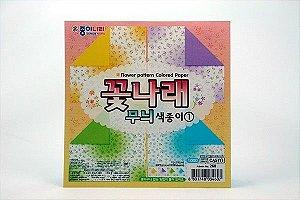 Papel P/ Origami Flower Pattern (CA51Y1) - Jong Ie Nara (20fls)