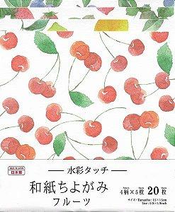 Papel Origami 15x15cm Estampada Face Única (20fls) Washi Chiyogami Frutas Aquarela Daiso