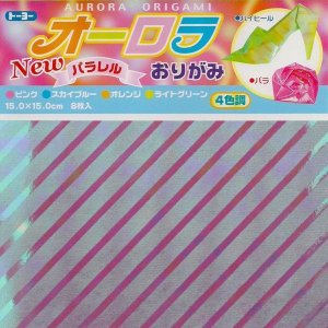 Papel p/ Origami 15x15 Aurora Parallel (8fls) Toyo