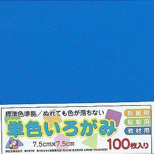 Papel P/ Origami 7,5x7,5cm Liso Face única No. 11 Azul - Ehime Shiko (100fls)