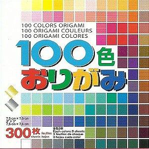 Papel P/ Origami 7,5x7,5cm Liso Face única 100 Cores S100C (300 Fls)