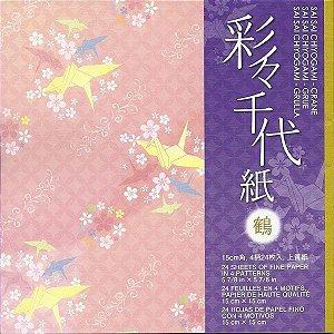 Papel P/ Origami 15x15cm Estampado Face única Sai Sai Chiyogami - Crane CRN200 (24fls)