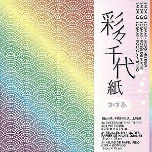Papel P/ Origami 15x15cm Estampado Face única Sai Sai Chiyogami - Morning Dew MDW200 (24fls)