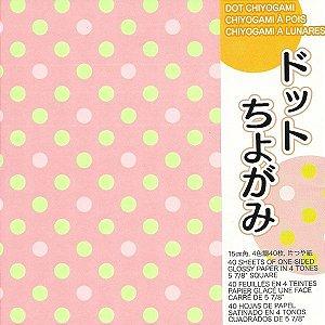Papel P/ Origami 15x15cm Estampado Face únca Dot Chiyogami DOT200 (40fls)