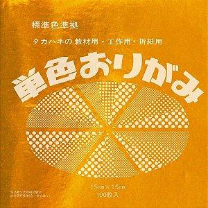Papel P/ Origami 15x15cm Liso Face Única Dourado No. 32 (100fls)