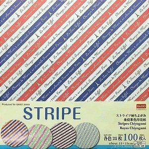 Papel p/ Origami 15x15cm Face Única Estampada Stripe HY15-P10 (100fls)