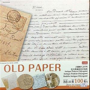 Papel P/ Origami 15x15cm Face Única Estampada Old Paper D-045 No. 46 (100fls)