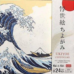 Papel p/ Origami 15x15cm Face Única Estampada Washi Ukiyoe D-45No. 60 (24fls)