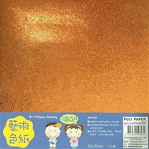 Papel P/ Origami 20x20cm Face Única Lisa Metalizada Laranja MPA-03 (10fls)