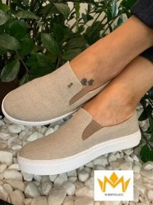 Tênis Slip On Santa Lolla Natural Linho