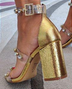 Sandalia Schutz Dourada Salto Grosso Vinil Brilhos