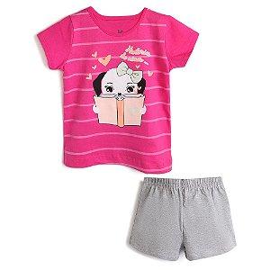 Pijama Curto Menina Estampa Rosa