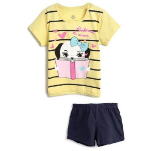 Pijama Curto Menina Estampa Amarelo