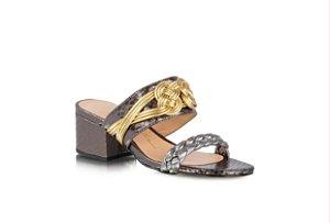 Sandália Metalic Croco