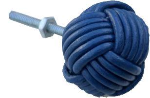 Puxador  para  móveis  em couro azul royal