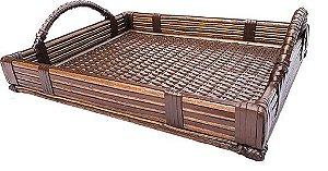 Bandeja  decoração mesa e servir em junco e couro