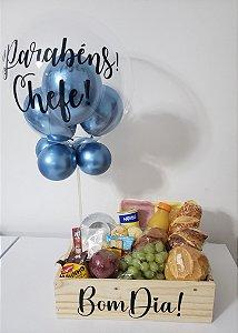 Caixa Madeira de Café da Manhã com Balão Bubble