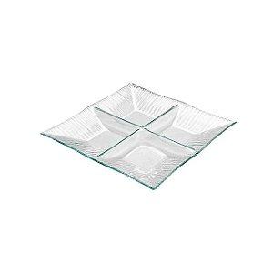 Petisqueira Quadrada 4 Divisórias Transparente Decorglass