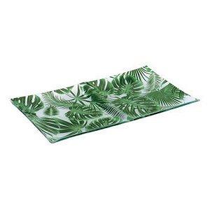 Ornamento Folhagem de Vidro com 2 Divisórias Decor Glass