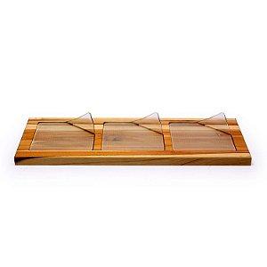 Conjunto Petisqueira 4 Peças em Vidro e Madeira Decorglass
