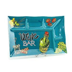 Petisqueira Retangular Verde Wine Bar Decorglass