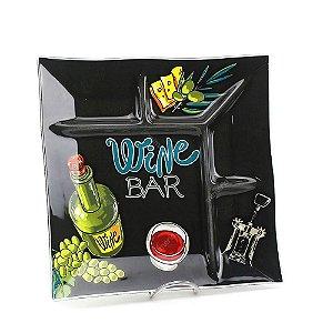 Petisqueira Quadrada Preta Wine Bar Decorglass