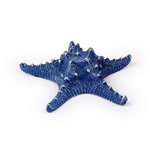 Ornamento Resina Estrela do Mar Grande Azul Escuro Decorglass